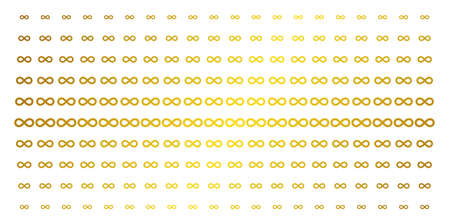 Infinity icon gold colored halftone pattern. Vector infinity shapes are arranged into halftone array with inclined gold color gradient. Designed for backgrounds, covers, templates and bright concepts. 向量圖像
