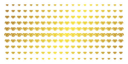Puppy icon golden halftone pattern. Vector puppy items are arranged into halftone grid with inclined gold gradient. Designed for backgrounds, covers, templates and beautiful concepts.