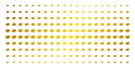 Boom bang icon golden halftone pattern. Vector boom bang pictograms are arranged into halftone grid with inclined gold gradient. Designed for backgrounds, covers, templates and bright effects. Illustration