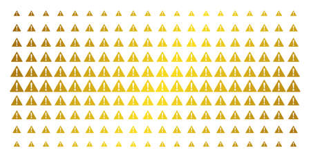 Warning icon golden halftone pattern. Vector warning symbols are organized into halftone grid with inclined golden gradient. Designed for backgrounds, covers, templates and luxury concepts. Illustration