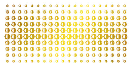 Cyborg head icon gold halftone pattern. Vector cyborg head symbols are organized into halftone array with inclined gold color gradient. Constructed for backgrounds, covers,