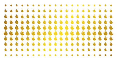 Fire flame icon gold colored halftone pattern. Vector fire flame objects are organized into halftone array with inclined gold gradient. Constructed for backgrounds, covers, Illustration