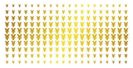 Yen icon gold halftone pattern. Vector yen objects are arranged into halftone array with inclined gold color gradient. Constructed for backgrounds, covers, templates and bright effects. Illustration