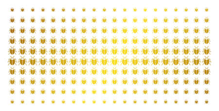 Bug icon gold halftone pattern. Vector bug shapes are arranged into halftone array with inclined golden gradient. Designed for backgrounds, covers, templates and bright effects. Illustration
