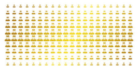 Soldier icon gold colored halftone pattern. Vector soldier objects are arranged into halftone matrix with inclined golden gradient. Constructed for backgrounds, covers, templates and bright effects.