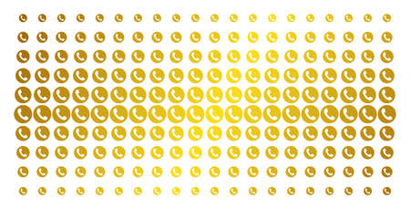 Phone number icon gold halftone pattern. Vector phone number shapes are arranged into halftone array with inclined gold gradient. Constructed for backgrounds, covers, templates and luxury concepts. Illustration