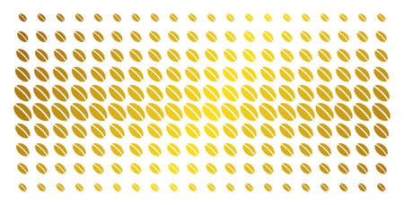 Wheat seed icon gold halftone pattern. Vector wheat seed symbols are arranged into halftone grid with inclined golden gradient. Constructed for backgrounds, covers, templates and bright compositions. Illustration