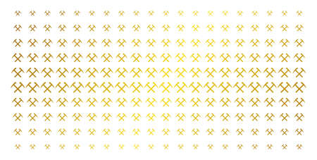 Mining hammers icon golden halftone pattern. Vector mining hammers pictograms are organized into halftone array with inclined golden gradient. Designed for backgrounds, covers,