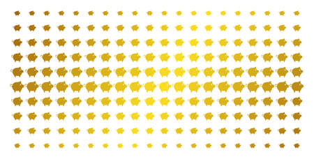 Piggy icon gold halftone pattern. Vector piggy pictograms are organized into halftone matrix with inclined golden gradient. Constructed for backgrounds, covers, templates and beautiful concepts.