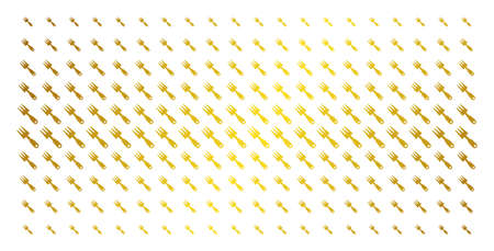 Cultivator rake icon gold halftone pattern. Vector cultivator rake shapes are arranged into halftone matrix with inclined golden gradient. Constructed for backgrounds, covers,