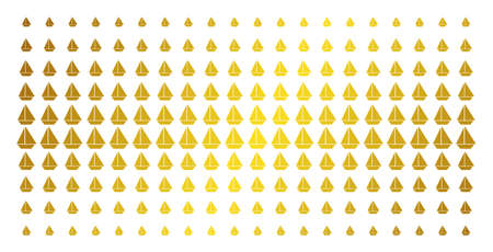 Yacht icon gold colored halftone pattern. Vector yacht shapes are arranged into halftone matrix with inclined gold color gradient. Designed for backgrounds, covers, templates and bright concepts.