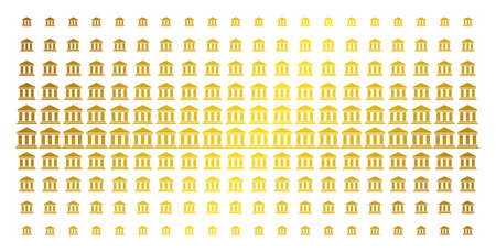 Library building icon gold colored halftone pattern. Vector library building objects are arranged into halftone matrix with inclined golden gradient. Designed for backgrounds, covers,