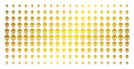Skull icon golden halftone pattern. Vector skull items are organized into halftone grid with inclined gold color gradient. Constructed for backgrounds, covers, templates and abstract effects.