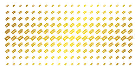 Free tag icon golden halftone pattern. Vector free tag shapes are organized into halftone matrix with inclined golden gradient. Constructed for backgrounds, covers, templates and luxury concepts.
