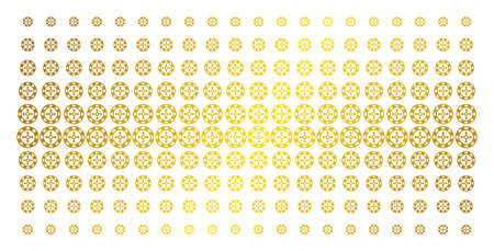 Roulette casino chip icon gold colored halftone pattern. Vector roulette casino chip shapes are organized into halftone grid with inclined gold color gradient. Designed for backgrounds, covers,