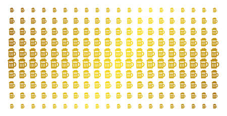 Beer glass icon golden halftone pattern. Vector beer glass symbols are arranged into halftone grid with inclined golden gradient. Designed for backgrounds, covers, templates and abstract concepts.