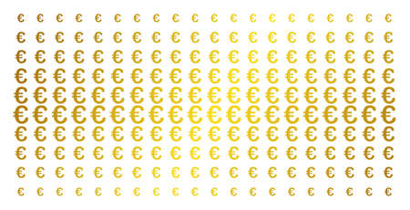 Euro symbol icon gold halftone pattern. Vector Euro symbol pictograms are arranged into halftone matrix with inclined gold gradient. Constructed for backgrounds, covers, Illustration