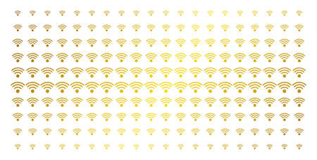 WiFi source icon golden halftone pattern. Vector WiFi source pictograms are arranged into halftone array with inclined gold color gradient. Constructed for backgrounds, covers,