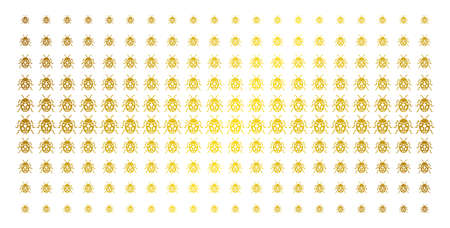 Ladybird bug icon golden halftone pattern. Vector ladybird bug pictograms are arranged into halftone matrix with inclined gold gradient. Designed for backgrounds, covers,