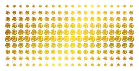 Network icon gold halftone pattern. Vector network shapes are arranged into halftone grid with inclined gold gradient. Constructed for backgrounds, covers, templates and beautiful concepts.
