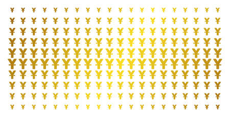 Yuan icon golden halftone pattern. Vector yuan items are arranged into halftone array with inclined gold color gradient. Designed for backgrounds, covers, templates and luxury compositions. Illustration