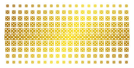 Dice icon gold colored halftone pattern. Vector dice items are arranged into halftone array with inclined gold color gradient. Constructed for backgrounds, covers, templates and abstract concepts.
