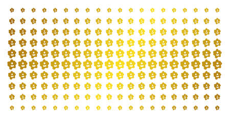 Amoeba icon gold colored halftone pattern. Vector amoeba pictograms are arranged into halftone grid with inclined gold gradient. Constructed for backgrounds, covers, templates and beautiful concepts. Illustration