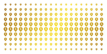 Banking map marker icon gold colored halftone pattern. Vector banking map marker objects are organized into halftone grid with inclined gold color gradient. Designed for backgrounds, covers,