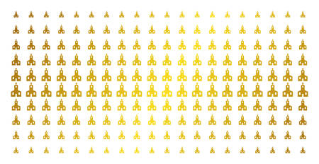Christian church icon golden halftone pattern. Vector Christian church shapes are arranged into halftone matrix with inclined gold color gradient. Designed for backgrounds, covers,