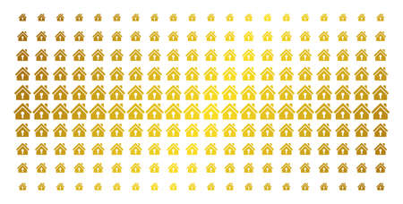 Home keyhole icon golden halftone pattern. Vector home keyhole shapes are organized into halftone array with inclined gold gradient. Constructed for backgrounds, covers, templates and bright concepts.