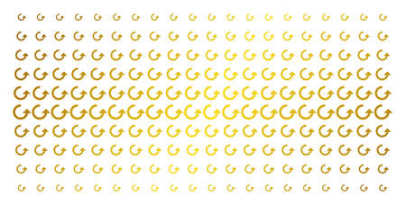 Rotate icon gold halftone pattern. Vector rotate pictograms are arranged into halftone grid with inclined gold gradient. Designed for backgrounds, covers, templates and bright compositions. Illustration