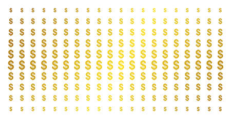 Dollar icon golden halftone pattern. Vector dollar items are organized into halftone matrix with inclined gold gradient. Constructed for backgrounds, covers, templates and bright effects. Illustration