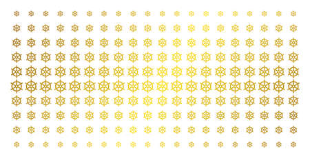 Boat steering wheel icon gold halftone pattern. Vector boat steering wheel items are organized into halftone grid with inclined gold color gradient. Designed for backgrounds, covers,