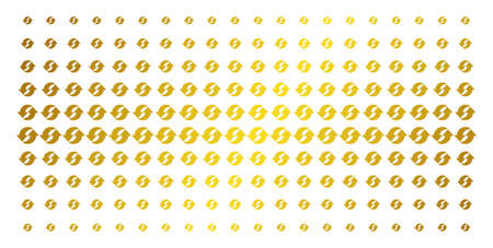 Refresh icon golden halftone pattern. Vector refresh objects are arranged into halftone matrix with inclined gold gradient. Designed for backgrounds, covers, templates and beautiful concepts.