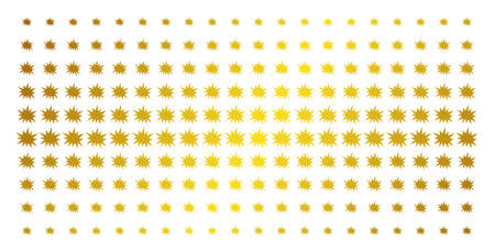 Bang icon gold halftone pattern. Vector bang objects are arranged into halftone matrix with inclined golden gradient. Designed for backgrounds, covers, templates and abstract concepts.