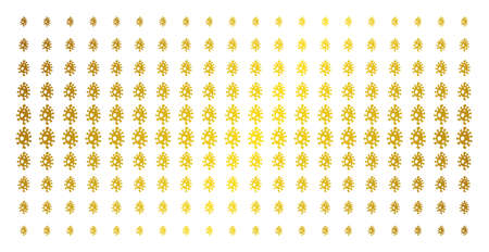 Infection cell icon gold halftone pattern. Vector infection cell items are organized into halftone grid with inclined golden gradient. Designed for backgrounds, covers,