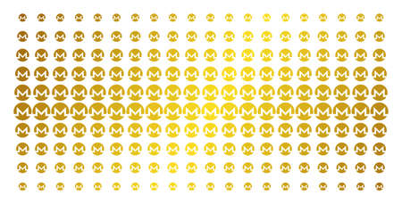 Monero currency icon golden halftone pattern. Vector Monero currency pictograms are organized into halftone matrix with inclined golden gradient. Designed for backgrounds, covers, Illustration