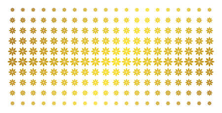 Abstract flower icon gold halftone pattern. Vector abstract flower items are arranged into halftone array with inclined gold color gradient. Designed for backgrounds, covers, Illustration