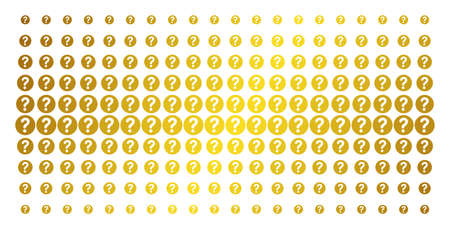 Query icon gold colored halftone pattern. Vector query shapes are arranged into halftone array with inclined golden gradient. Constructed for backgrounds, covers, templates and abstract compositions.