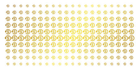 Refund icon golden halftone pattern. Vector refund pictograms are arranged into halftone matrix with inclined gold gradient. Designed for backgrounds, covers, templates and beautiful effects.