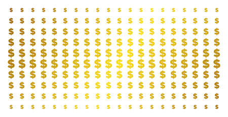 Dollar icon gold halftone pattern. Vector dollar shapes are organized into halftone array with inclined gold color gradient. Designed for backgrounds, covers, templates and bright concepts.