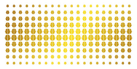 Dual face icon gold colored halftone pattern. Vector dual face shapes are organized into halftone matrix with inclined golden gradient. Designed for backgrounds, covers, templates and bright effects.