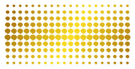 Quote icon gold colored halftone pattern. Vector quote items are organized into halftone array with inclined golden gradient. Designed for backgrounds, covers, templates and abstract compositions.