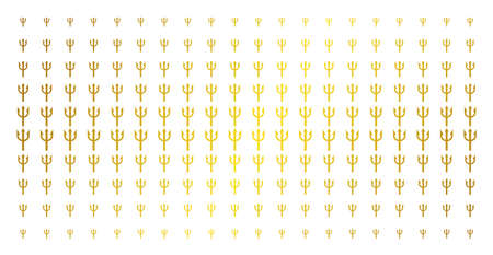 Trident fork icon gold halftone pattern. Vector trident fork symbols are arranged into halftone grid with inclined golden gradient. Constructed for backgrounds, covers, Vectores