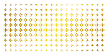 Air plane icon golden halftone pattern. Vector air plane pictograms are arranged into halftone grid with inclined gold color gradient. Constructed for backgrounds, covers,