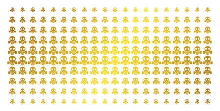 Gas mask icon gold colored halftone pattern. Vector gas mask items are organized into halftone matrix with inclined gold gradient. Designed for backgrounds, covers, Illustration
