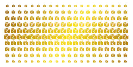 Euro checkbook icon gold halftone pattern. Vector Euro checkbook objects are organized into halftone array with inclined gold color gradient. Designed for backgrounds, covers,
