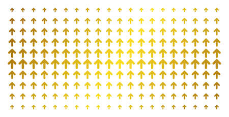 Arrow up icon gold colored halftone pattern. Vector arrow up pictograms are arranged into halftone grid with inclined gold gradient. Constructed for backgrounds, covers, templates and luxury effects.
