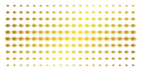 Bacteria icon gold colored halftone pattern. Vector bacteria shapes are arranged into halftone grid with inclined golden gradient. Designed for backgrounds, covers, templates and bright compositions.