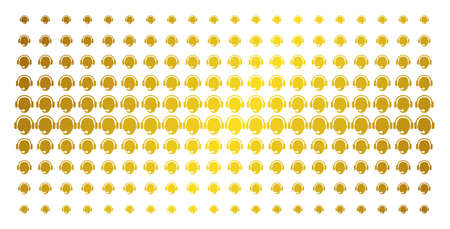 Operator head icon gold halftone pattern. Vector operator head pictograms are arranged into halftone grid with inclined golden gradient. Designed for backgrounds, covers,
